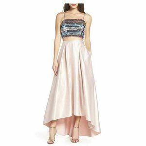 Sequin Hearts 0 Blush 2 Pc Satin Gown NWT AL74
